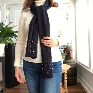 Navy scarf with pearl accents
